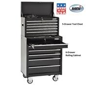 5-DRAWER TOOL CHEST & 6 DRAWER ROLLING CABINET
